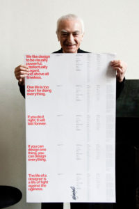 Massimo Vignelli with Poster goodkin