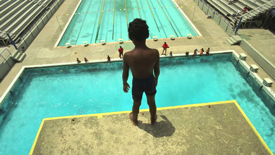 Nike Find Your Greatness Kid at top of High Dive goodkin