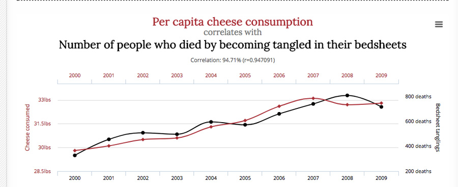 cheese consumption and death by bedsheets graph Correlation and Causation goodkin